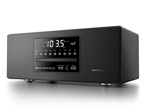 M-680 BTC edler CD-Spieler und Bluetooth-Lautsprecher mit UKW-Radio (USB, NFC, AUX-In, Uhr, Wecker, 40 Watt, Holzgehäuse, Fernbedienung), kompaktanlage, schwarz