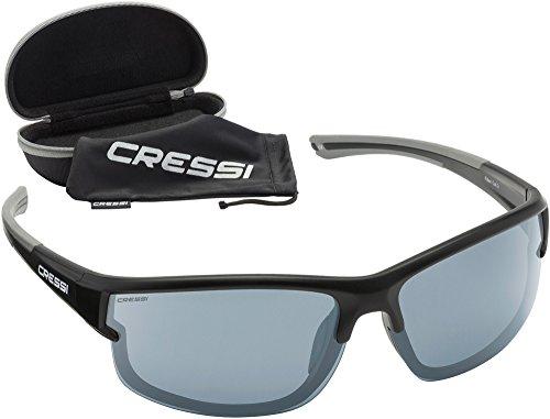Cressi Rocker - Lunettes de Soleil Polarisées Pour homme - 100% Anti-UV Avec étui rigide Noir/Lentilles Gris