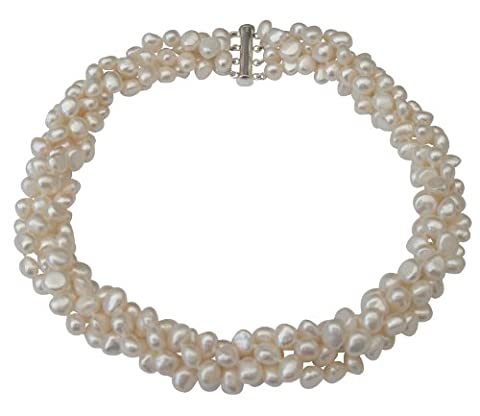 Gros collier à quatre rangs en perles de culture d'eau douce baroques Blanches avec fermoir coulissant en argentcarte cadeau.