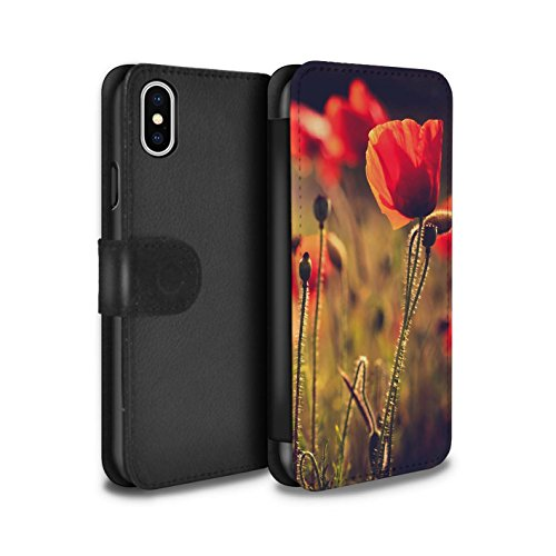 Stuff4 Coque/Etui/Housse Cuir PU Case/Cover pour Apple iPhone X/10 / Champ Violet Design / Campagne Colombie Collection Fleur Rouge