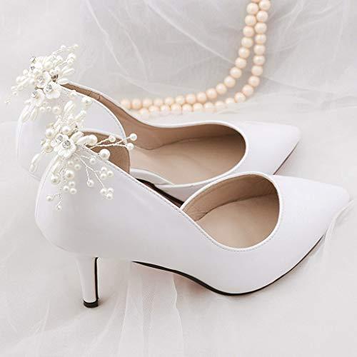 Clip Per Scarpe Da Sposa.Lllucky Perle Floreali Perline Tacchi Alti Sandali Clip Pompe