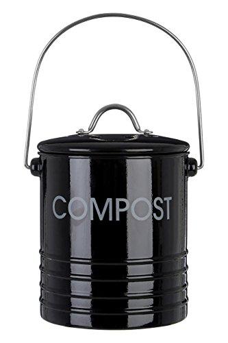 *Premier Housewares Komposteimer mit Tragegriff, Schwarz*
