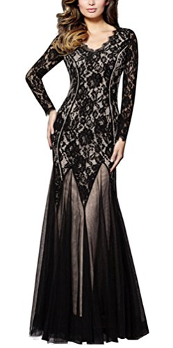 Ghope magnifique dentelle à manches longues robes de soirée Robes de bal col en V Long Black Robes de mariée Robes de soirée Mesh Party Noir