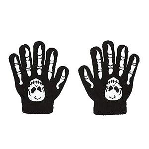 WIDMANN 02421 - Guantes de esqueleto con el cráneo, tamaño infantil, un tamaño, negro