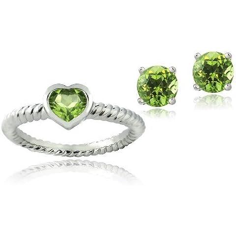 Da 1,6 k, a forma di cuore, in argento, con olivina &-Orecchini a perno a forma di anello