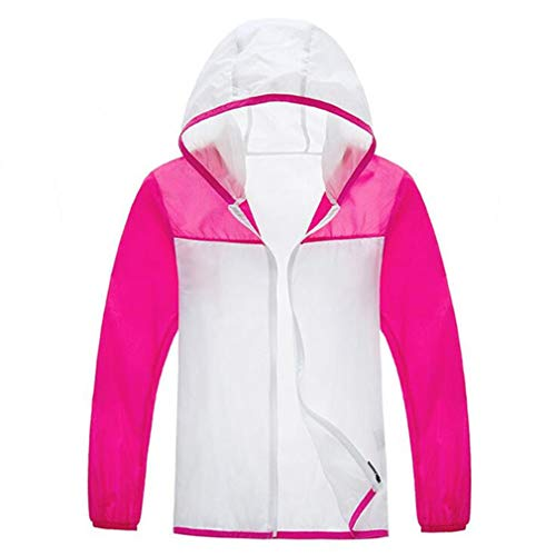 CIKRILAN Children Ultra-Light Quick Dry Hoodie Girls Anti-UV Outdoor Beach Jacket Coat (L, Rose Red) Girls Beach Hoodie