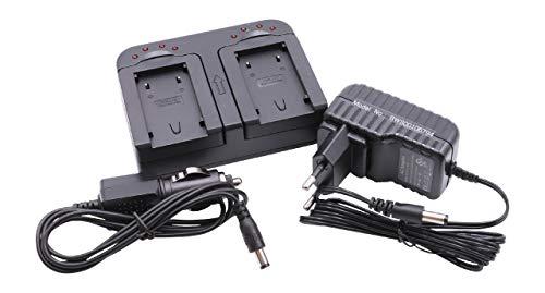 Caricabatterie doppio VHBW incluso Adattatore da Auto per Batteria JVC BN-VF808, BN-VF808U, BN-VF908, BN-VF815, BN-VF815U, BN-VF823, BN-VF823U.