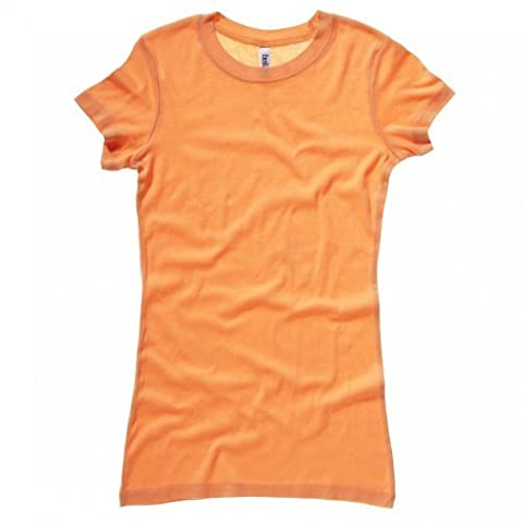 Bella + Canvas Womens/Ladies Sheer Mini Rib Crew Neck T-Shirt (S) (Orange Sorbet)