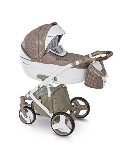 Lux4Kids Kinderwagen Set Babywanne Sportsitz Babyschale Wickeltasche Matratze Buggy optionales Zubehör 3in1 VIP Luxus Made in EU Kinderwagen Avenger+ Autositz Weiss-Pearlbraun