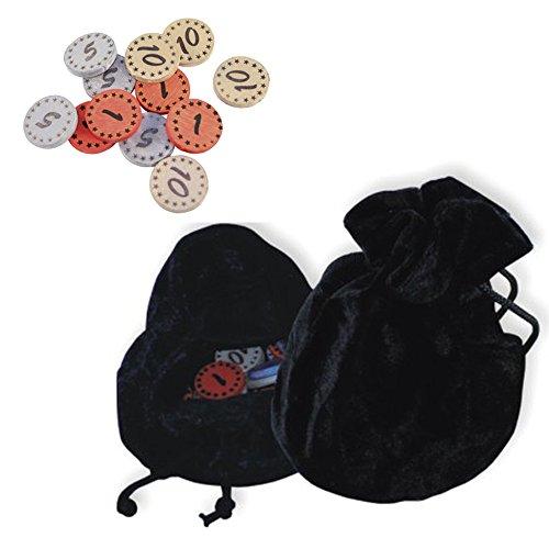 Koakid Dukatenbeutel Beutel Baumwolle + 12 Münzen Holz (Zubehör Kostüm Geld Beutel)