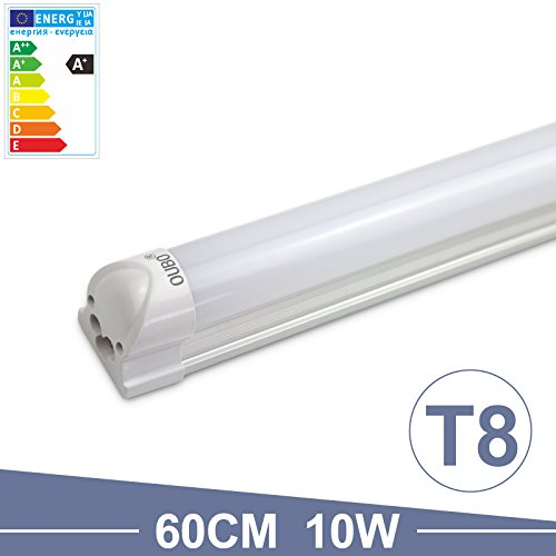 feuchtraumwannenleuchte OUBO 60cm LED Leuchtstoffröhre komplett Set mit Fassung kaltweiss 6500K 10W 850lm Lichtleiste Unterbauleuchte Küchenlampe Schrankleuchte Deckenleuchte led strip