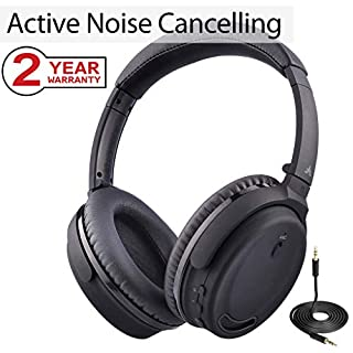 Avantree Active Noise Cancelling Bluetooth 4.1 Headphones with Mic, Wireless Wired Foldable Stereo ANC Over Ear Headset, Low Latency for TV PC Phone - ANC032 [24M Warranty]