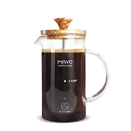 French Press Coffee Maker, Espresso Coffee Maker Heat-resistent Glass Coffee Cup Teapot with Olive Wood Lid,600ml - Maker Ein Coffee Cup French Press