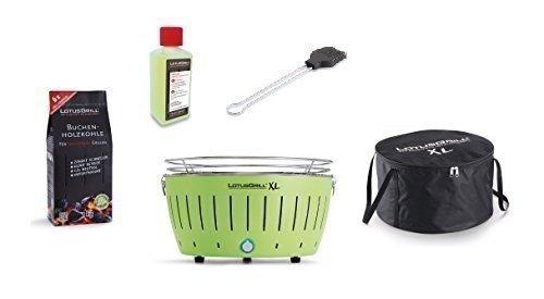 LotusGrill Barbecue XL Kit de démarrage 1x Lotus Barbecue charbon de bois de hêtre XL Vert citron 1x 1kg, 1x Pâte à combustible 200ml, 1x Pinceau Gris anthracite, 1x XL Sacoche de transport