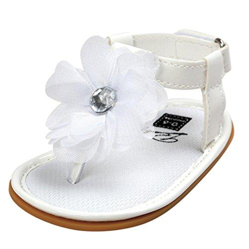 LuckyGirls Baby Sandalen Kleinkind Schuhe Lauflernschuhe Blume Perle Flache Prinzessin Schuhe Zehentrenner Mädchen Schuhe (0~6 Monate, Weiß)