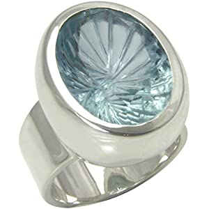 Aquamarin Ring 22x16 mm (Sterlingsilber 925) Aquamarinring Laserschliff