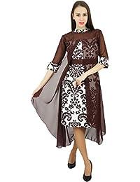 Amoghah Mujeres Se Visten De Algodón Capelet Damasco Del Diseñador Del Vestido De Boho Chic Vestidos