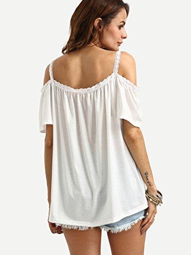 ROMWE Damen Bluse Schulterfrei Cold Shoulder Locker Träger Top Oberteil Weiß
