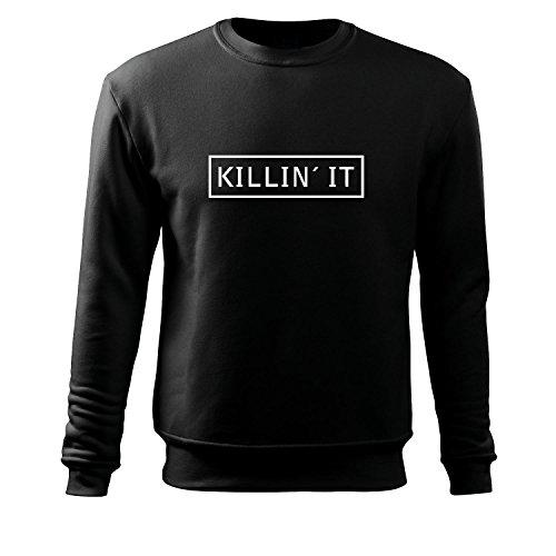 Männer Langarmshirt killin it witzig bedrucktes Funshirt Fun T-Shirt Männershirt Muskelshirt mit Motiv - Neu S-XXXL (Tracht Albanische)
