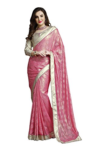 Chigy Whigy Pink Jacquard party wear Sarees