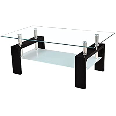 Home Discount Elise Rectangular Glass Coffee Table, Black