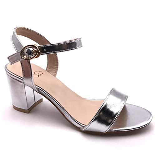 Angkorly - Damen Schuhe Sandalen Pumpe - kleine Fersen - Plateauschuhe - Offen - Lackiert - Basic - Basic Blockabsatz high Heel 7.5 cm - Silber FC-52 T 38 Silber Heels