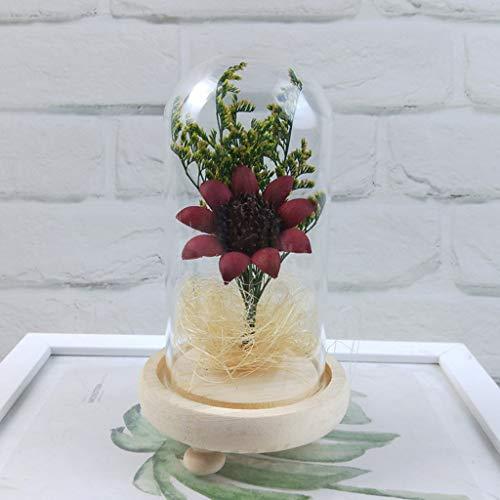 Yazidan Romantic Glass Sonnenblume Wedding Decoration Home Furnishing LED-Licht mit herabgefallenen Blütenblättern in Glaskuppel auf Einem Holzsockel von Warm White Light Rose Shade