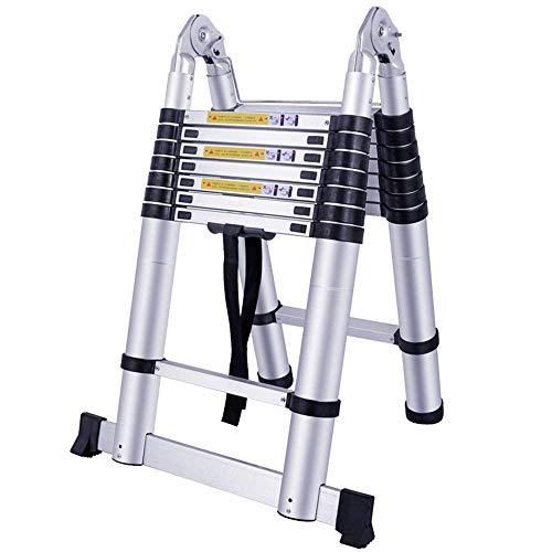 AUFUN Teleskopleiter 5m Alu-teleskopleiter Rutschfester Aluleiter Klappleiter Schiebeleiter Sprossenleiter Ausziehleiter Teleskop-Design Mehrzweckleiter max 150 kg Belastbarkeit Faltbar(2,5+2,5M)