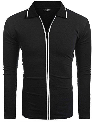 COOFANDY Men's Turn Down Collar Long Sleeve Full Zip Casual Polo Shirt