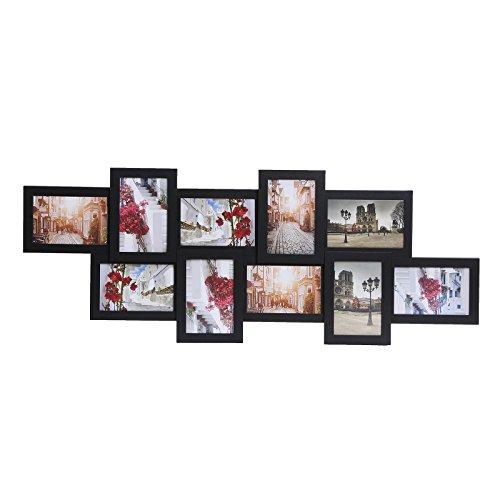 Songmics Bilderrahmen Collage für 10 Fotos je 10 x 15 cm Fotorahmen aus MDF-Platten schwarz RPF21H