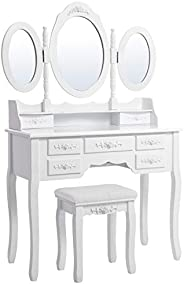Songmics Wall-Fixed Luxurious 3 Mirrors Dressing Table Set with Stool, 7 Drawers with 2 Dividers Make-up Dress
