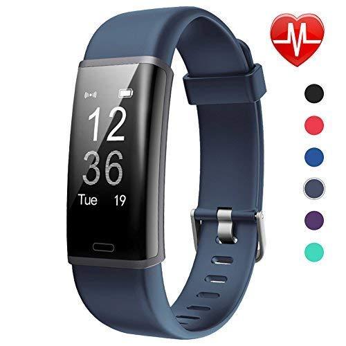 Lintelek - Rastreador de Actividad F Fitness, Personalizado con Monitor de Ritmo cardíaco, Pantalla de 0,96 Pulgadas, Color ashy
