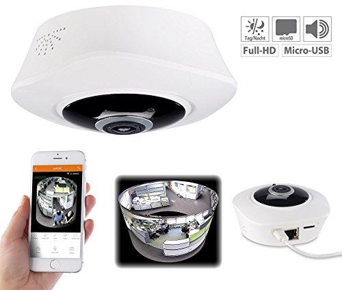 7links 360 Kamera: 360°-Panorama-IP-Überwachungskamera mit WLAN & Nachtsicht, Full HD (360 Grad Kamera) (Wlan-camcorder-mikrofon)
