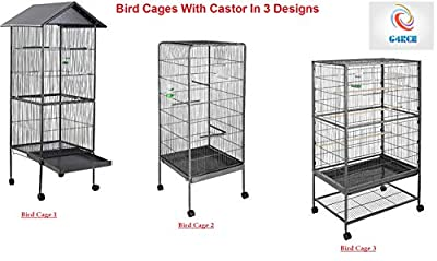 Portable Indoor/Outdoor Metal Bird Cage Aviary Apex Roof Parrot Budgie Canary Different Designs by Generic