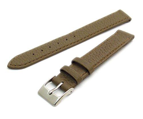 Super Soft Cow Hide Leder Uhrenarmband von Condor taupe 16mm breit, chrom (Silber Farbe) Schnalle 348r.03