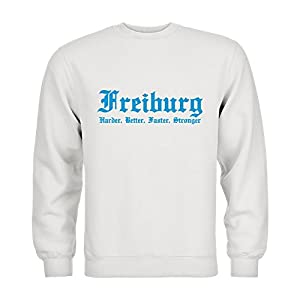 dress-puntos Kids Kinder Sweatshirt Freiburg Harder, Better, Faster, Stronger 20drpt15-ks00062-100 Textil white / Motiv hellblau Gr. 152/164