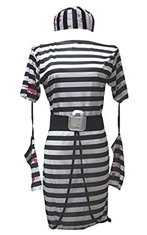 Femme Costumes De Prisonniers - petitebelle Halloween Costume Party Dress Up Blanc
