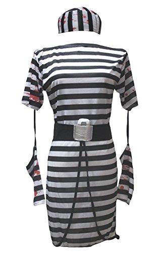 petitebelle Halloween-Kostüm schwarz weiß Gefangene Party Dress Up für Frauen Gr. One Size, mehrfarbig