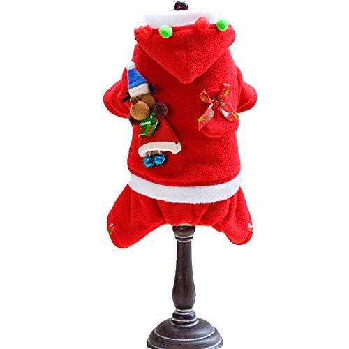 NACOCO Haustier-Kostüm mit Glocke, Elch-Design, für Kleine Hündinnen, warme Kleidung, geeignet für Herbst und Winter, M, rot