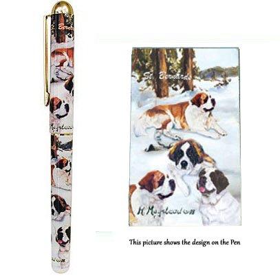 st-bernard-dog-gift-beautiful-rollerball-pen-with-black-velvet-pouch