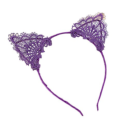 Blue Vessel Fancy Dress Kostüm Wired Lace Katze Ohren Stirnband Festival Hen Night Party (lila)