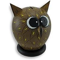 Preisvergleich für Whimsical en bois Large Eyed Owl Tirelire 7.25in.