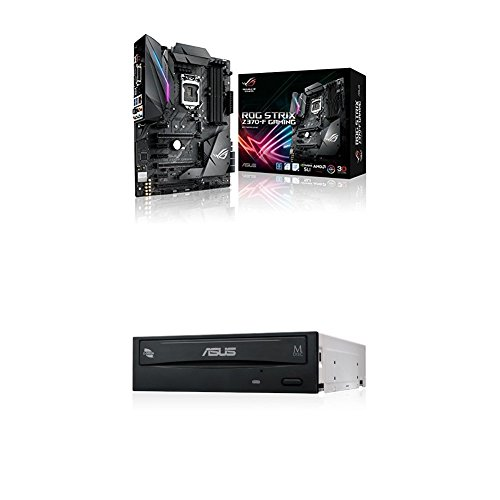 ASUS ROG Strix Z370-F Gaming Mainboard Sockel 1151 (ATX, Intel Z370, Coffeelake, 4X DDR4-Speicher, USB 3.1, M.2 Schnittstelle) + interner 24x DVD Brenner (DVD+-RW, Retail E-Green Silent) Schwarz