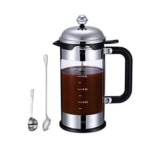 HoneyGuaridan FS - 0515 Caffettiere a pistone French Press Coffee Maker 8 Tazze, 1 L, 4 sistemi di filtrazione a livello, acciaio inossidabile con vetro di misurazione, cucchiaio di misurazione superiore e acciaio inossidabile e cucchiaio di miscelazione