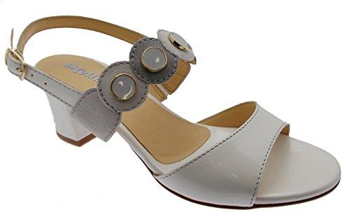 227af80137 Femme Sandale Ouvert Blanc Gris Médaille de Glace Art K95326