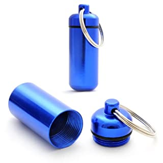 Ganzoo Storage 2Capsules (Aluminium, with Hanger for Key Ring and Screw Cap with Gasket Rubber, 45mm Height, Blue)