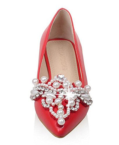 GLTER Frauen-Closed-Toe-Pumps-Fersen-Sandalen Luxus-Rhinestone-Perlen-Kurzschluss-Schuh-Gerichts-Schuhe Red