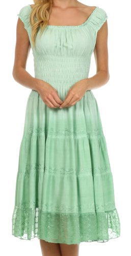 Sakkas 6741 Spring Maiden Ombre Bauernkleid - Sage Green - One Size - Stufenrock Kleid