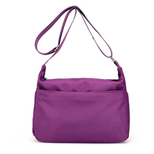 Nylon Tuch Art Und Weisedamen Schulter Diagonale Querbeutel Purple