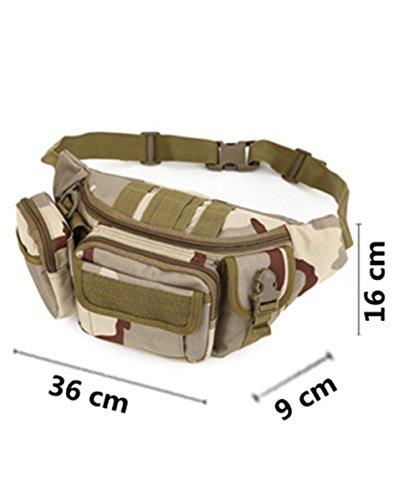 Katech Multifunktional Taille Pack Damen und Herren Outdoor Running Taschen Militär Tactical Taille Tasche für Wandern, Camping und Trekking Khaki